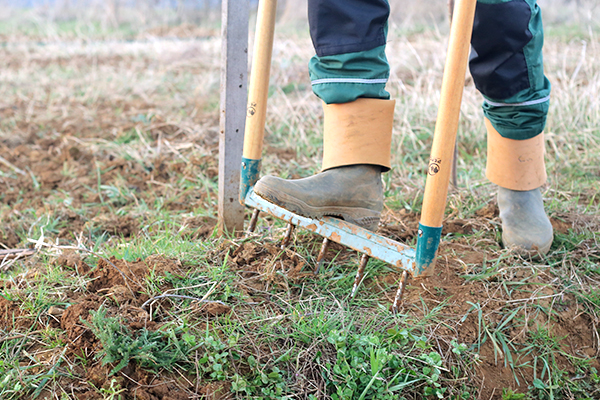 Décompactage du sol a l'aide d'une grelinette fiskars